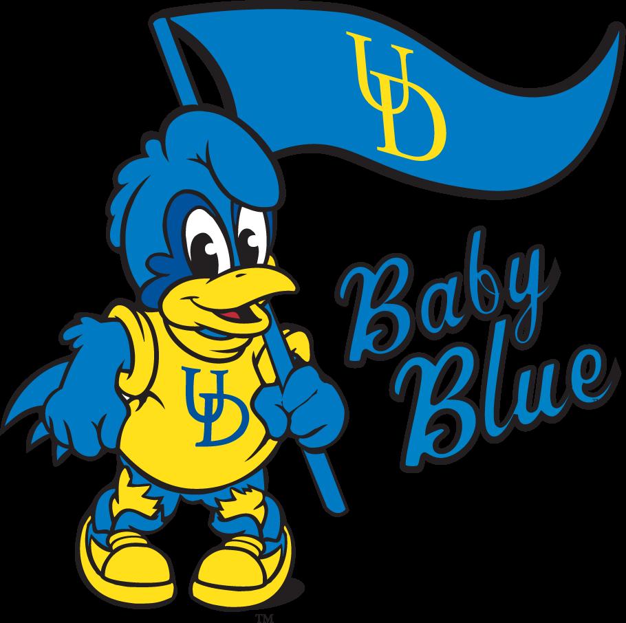 Delaware Blue Hens Logo Mascot Logo (1999-2009) - Baby Blue with flag SportsLogos.Net