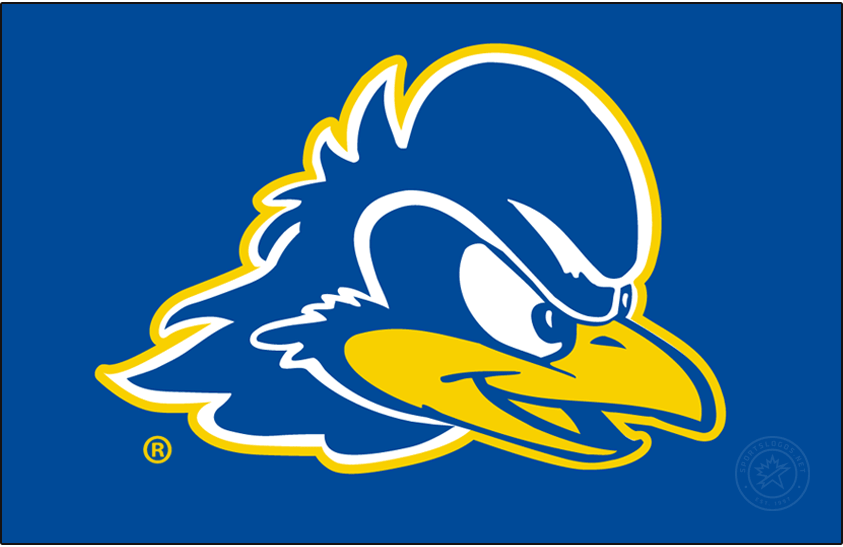 Delaware Blue Hens Logo Primary Dark Logo (2018-Pres) - Primary blue hen head logo in Pantone 2945C and 109C. SportsLogos.Net