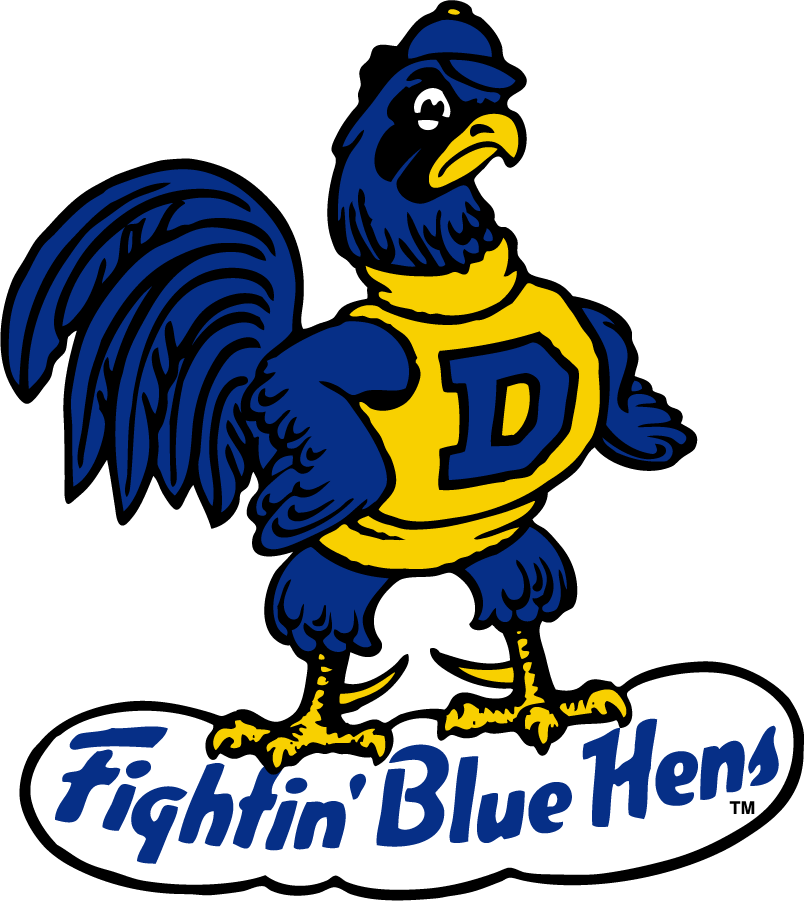 Delaware Blue Hens Logo Secondary Logo (1967-1986) - Blue Hen Dick mascot, a blue hen wearing yellow shirt and blue D above team name SportsLogos.Net