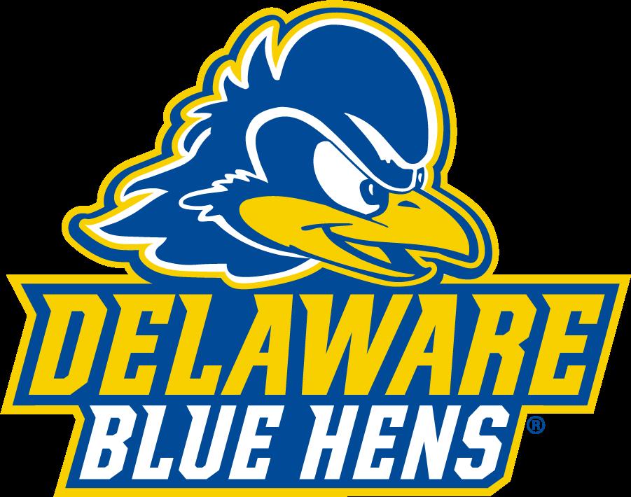 Delaware Blue Hens Logo Secondary Logo (2018-Pres) - Blue hen head over Delaware over Blue Hens SportsLogos.Net