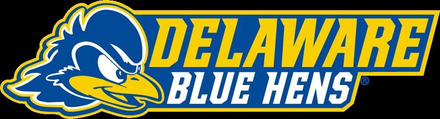 Delaware Blue Hens Logo Secondary Logo (2018-Pres) - Blue hen head beside Delaware over Blue Hens SportsLogos.Net