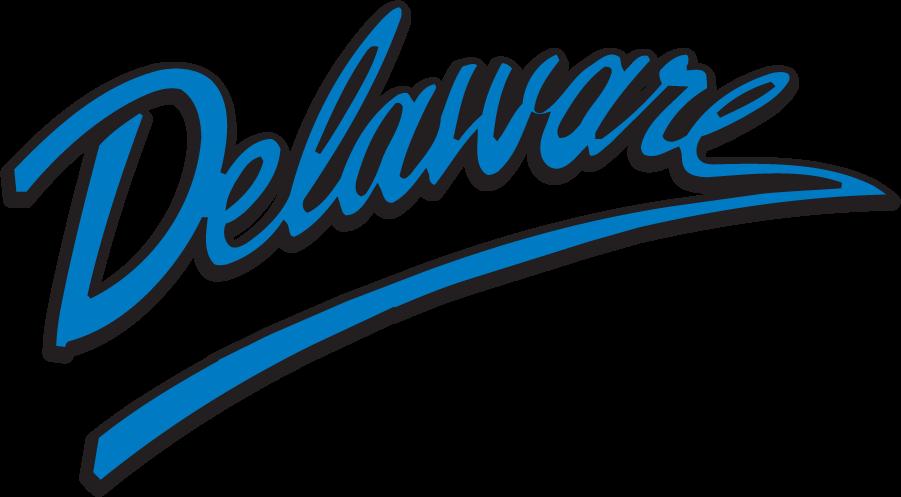 Delaware Blue Hens Logo Wordmark Logo (1999-2009) - Script Delaware. SportsLogos.Net