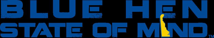 Delaware Blue Hens Logo Wordmark Logo (2014-2018) - Blue Hen State of Mind slogan SportsLogos.Net