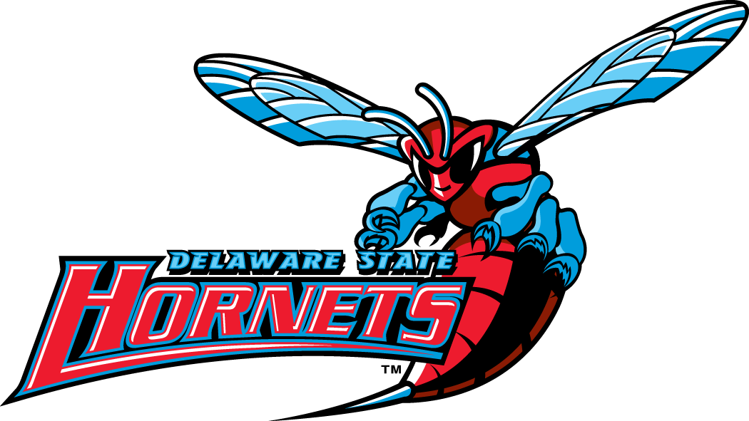 Delaware State Hornets Logo Alternate Logo (2004-Pres) - A hornet getting ready for a fight with script SportsLogos.Net