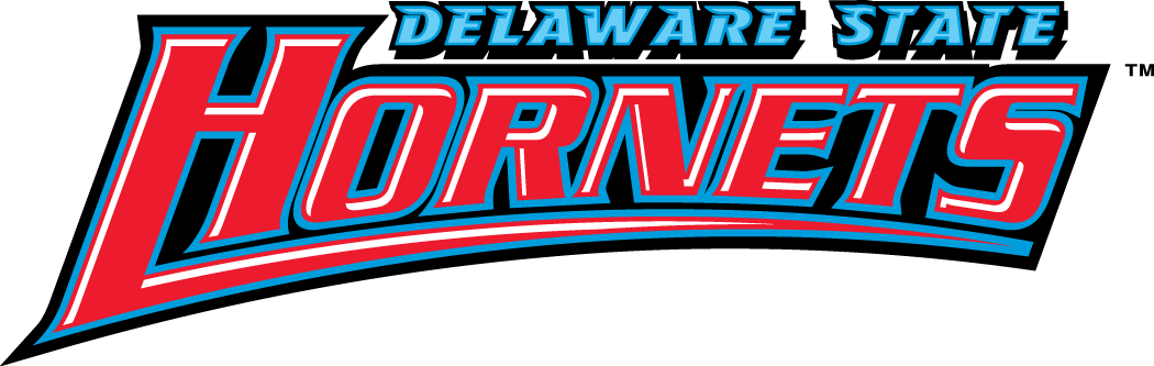 Delaware State Hornets Logo Wordmark Logo (2004-Pres) - Hornets in red on black with Delaware State in blue SportsLogos.Net