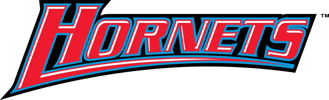 Delaware State Hornets Logo Wordmark Logo (2004-Pres) - Hornets in red on black SportsLogos.Net