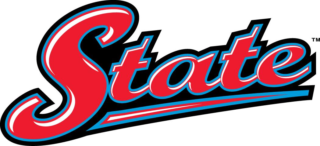 Delaware State Hornets Logo Wordmark Logo (2004-Pres) - State scripted in red with blue outline on black SportsLogos.Net