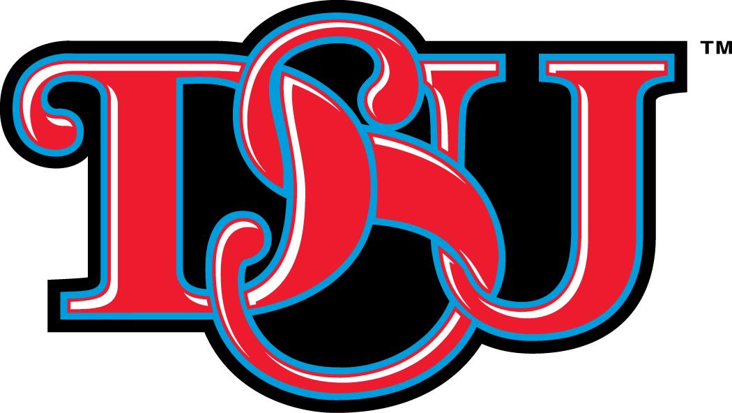 Delaware State Hornets Logo Alternate Logo (2004-Pres) - Red interlocking DSU with blue outline SportsLogos.Net
