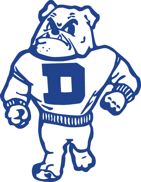 Drake Bulldogs Logo Primary Logo (1956-2004) - A walking bulldog with D on a sweatshirt SportsLogos.Net