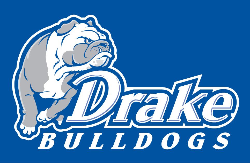 Drake Bulldogs Logo Alternate Logo (2005-2014) - A bulldog with its chin on Drake in white on blue SportsLogos.Net