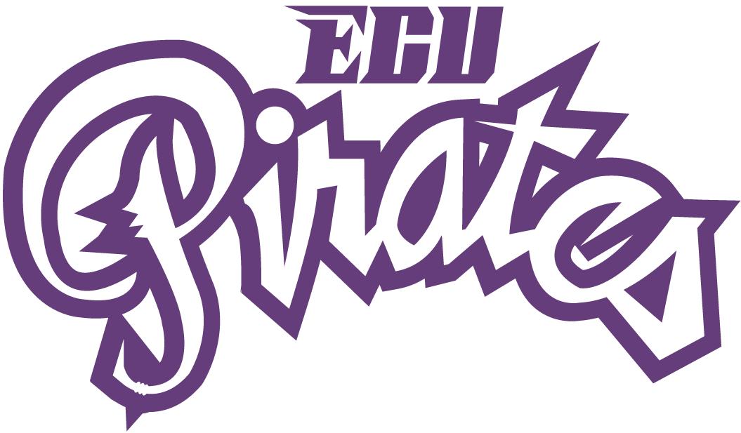 East Carolina Pirates Logo Wordmark Logo (1999-2013) - ECU written over script Pirates in purple SportsLogos.Net