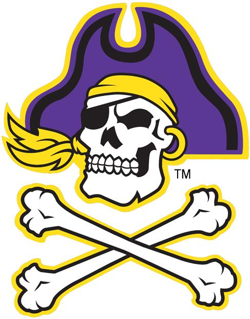 East Carolina Pirates Logo Alternate Logo (1999-2013) - Skull and crossbones with purple hat SportsLogos.Net