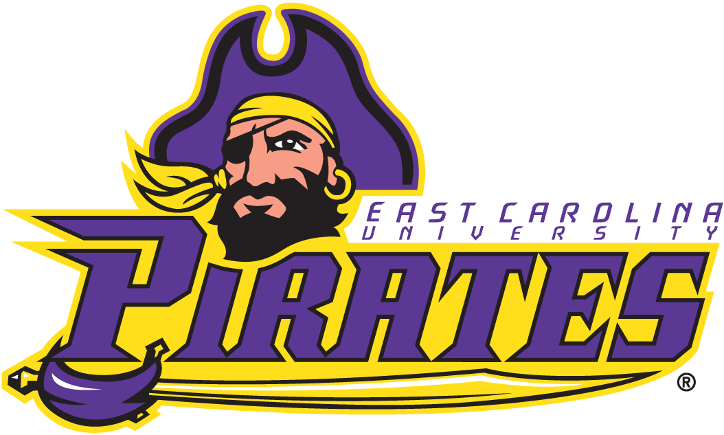 East Carolina Pirates Logo Secondary Logo (2004-2013) - Pirate head with script and sword SportsLogos.Net