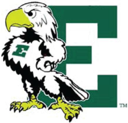Eastern Michigan Eagles Logo Primary Logo (1995-2001) - An Eagle standing against a green E SportsLogos.Net