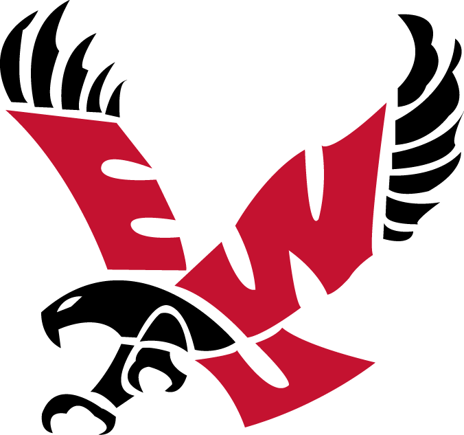 Eastern Washington Eagles Logo Primary Logo (2000-Pres) - Red EWU inside a black Eagle SportsLogos.Net