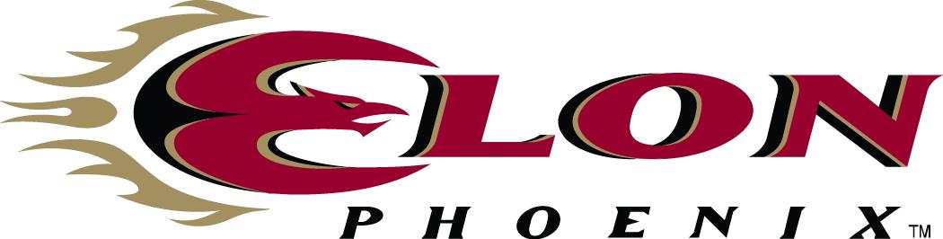 Elon Phoenix Logo Wordmark Logo (2000-2015) - Elon in red script with a Phoenix forming the E SportsLogos.Net