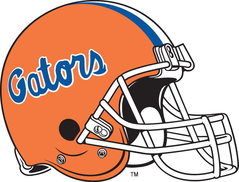 Florida Gators Helmet Helmet (1984-Pres) - Blue Gators script on orange helmet with white mask SportsLogos.Net