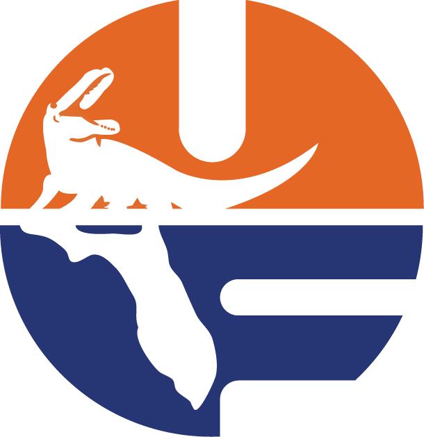Florida Gators Logo Primary Logo (1979-1994) - Orange and Blue UF with Gator and Florida SportsLogos.Net