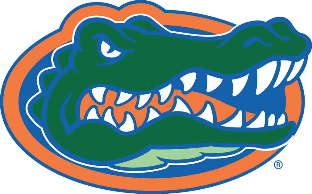 Florida Gators Logo Primary Logo (1995-2012) - A gator's head in the middle of an orange and blue oval SportsLogos.Net