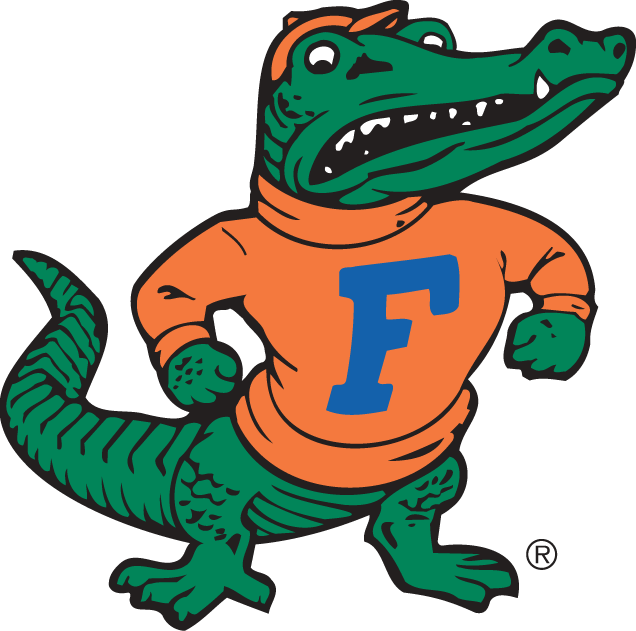 Florida Gators Logo Alternate Logo (1955-1994) - A standing Gator wearing a sweatshirt with an F on the front. SportsLogos.Net