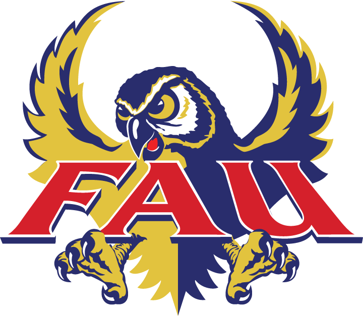 Florida Atlantic Owls Logo Primary Logo (1994-2004) - Blue and yellow owl flying with FAU script SportsLogos.Net