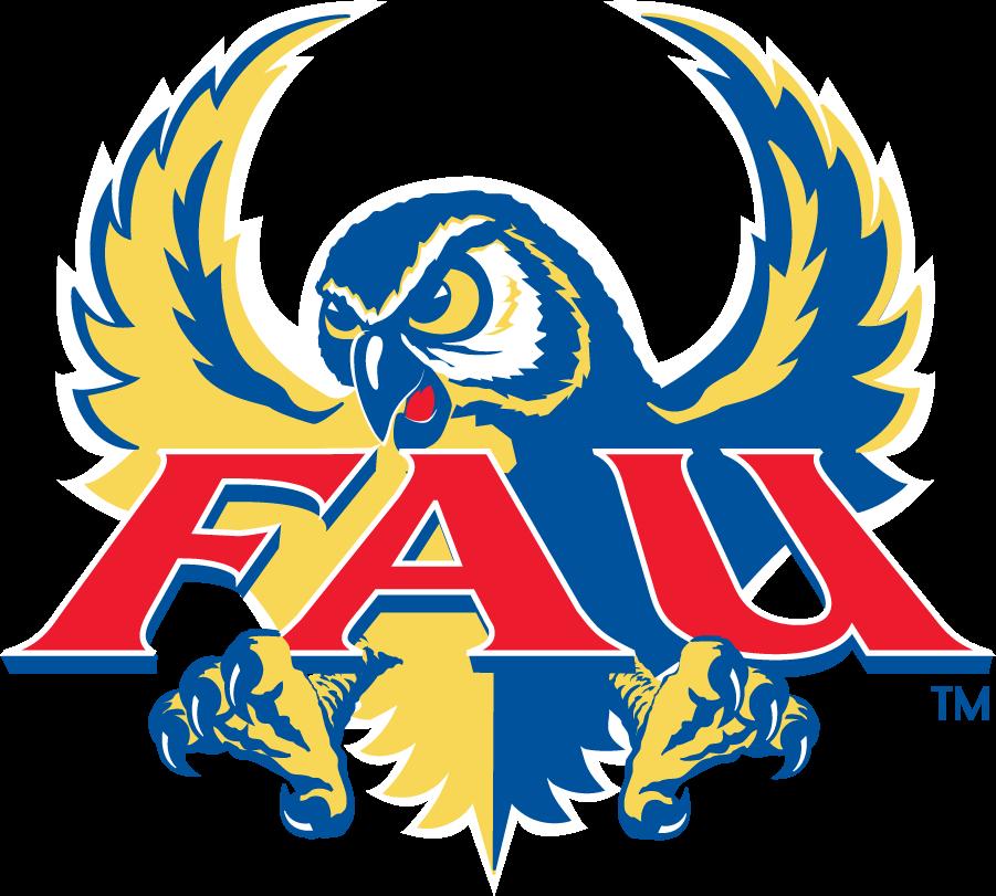 Florida Atlantic Owls Logo Primary Logo (2001-2005) - Blue and yellow owl flying with FAU script SportsLogos.Net