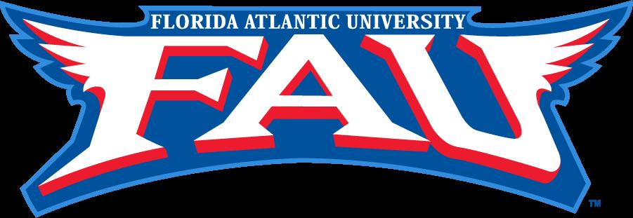 Florida Atlantic Owls Logo Wordmark Logo (2001-2005) - Full school name over winged FAU wordmark. Commonly seen with a gradient. SportsLogos.Net