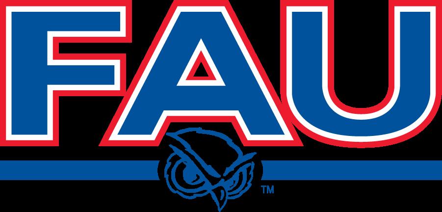 Florida Atlantic Owls Logo Wordmark Logo (2001-2005) - FAU over owl head between bars. Used on their football helmets during this period. SportsLogos.Net