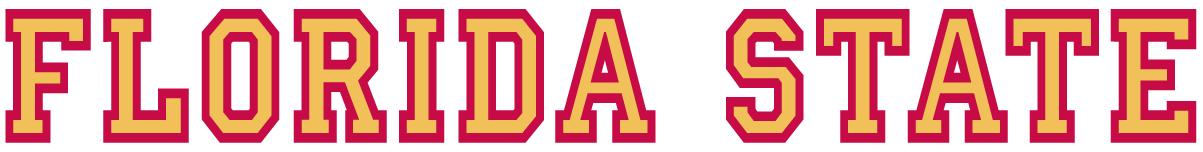 Florida State Seminoles Logo Wordmark Logo (1976-2013) - Florida State written in yellow and red SportsLogos.Net