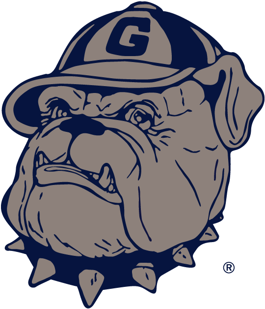 Georgetown Hoyas Logo Primary Logo (1978-1995) - A snarwling dog wearing a cap wtth a G. SportsLogos.Net