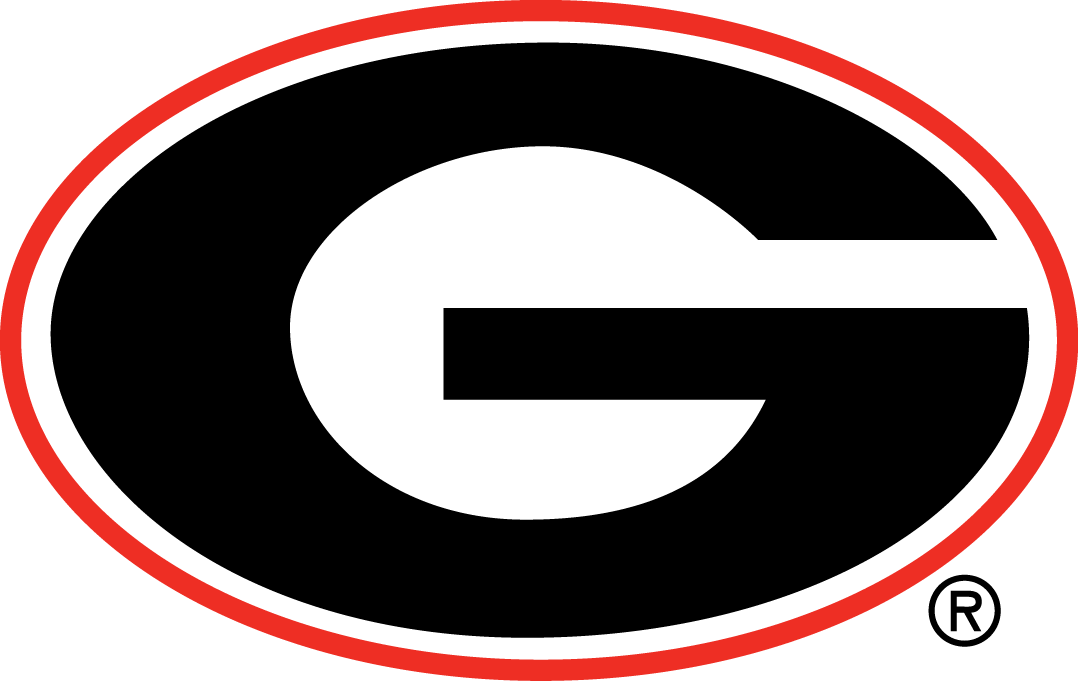 Georgia Bulldogs Logo Primary Logo (1964-Pres) - A black G in a red oval.  Updated.   SportsLogos.Net