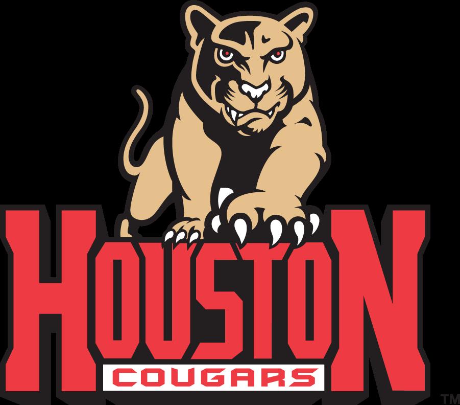 Houston Cougars Logo Primary Logo (1996-2000) - Light brown cougar over HOUSTON over COUGARS in bar. SportsLogos.Net