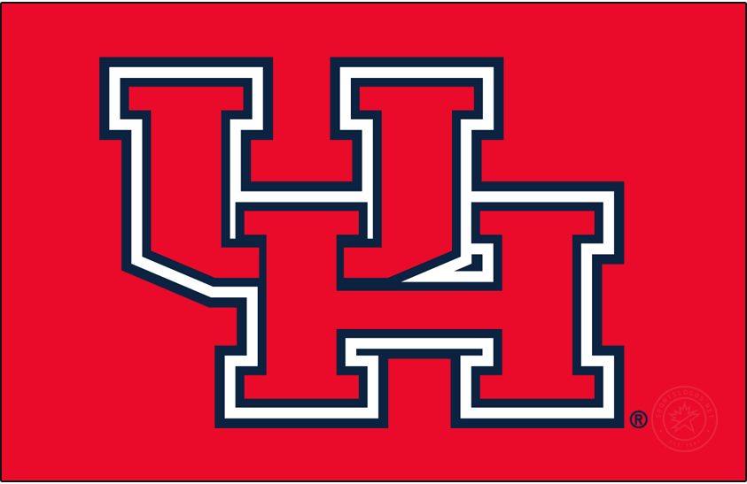 Houston Cougars Logo Primary Dark Logo (2000-2012) - Block UH logo in red with white and navy outlines. This existing a few years prior but became the Primary in roughly 2000. SportsLogos.Net