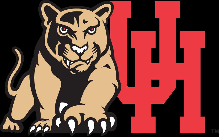 Houston Cougars Logo Secondary Logo (1996-2003) - Light brown cougar beside block UH logo. SportsLogos.Net