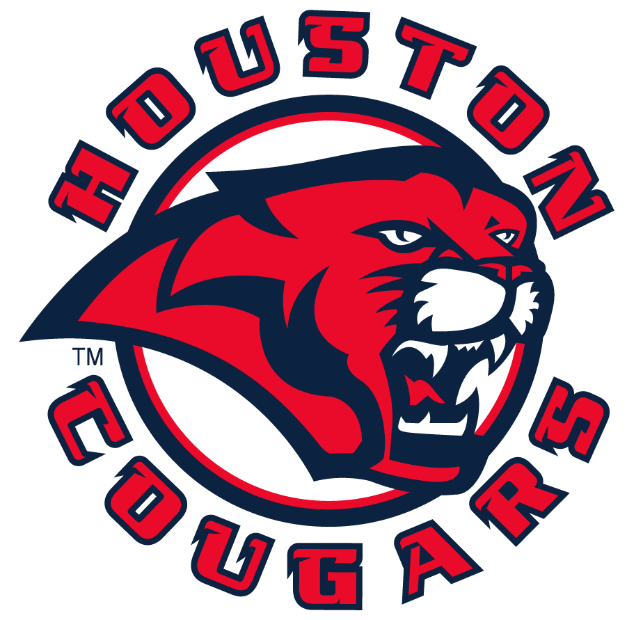 Houston Cougars Logo Secondary Logo (2003-2010) - Cougar head inside arched HOUSTON over COUGARS. This discontinued sometime before the 2012 rebrand. SportsLogos.Net