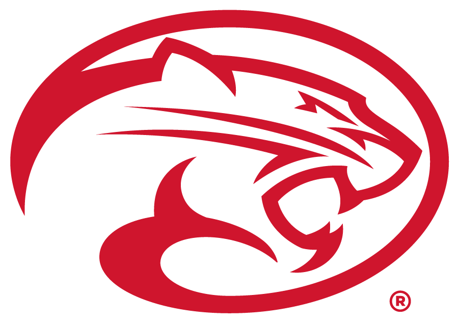 Houston Cougars Logo Secondary Logo (2012-2019) - Oval Cougar logo in red. In 2017 this became the only version of the Oval Cougar when navy was eliminated from the brand. SportsLogos.Net
