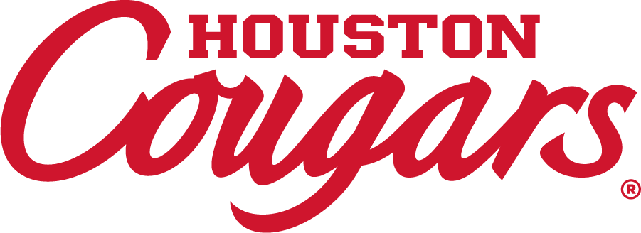 Houston Cougars Logo Wordmark Logo (2012-Pres) - HOUSTON over larger script COUGARS wordmark. SportsLogos.Net