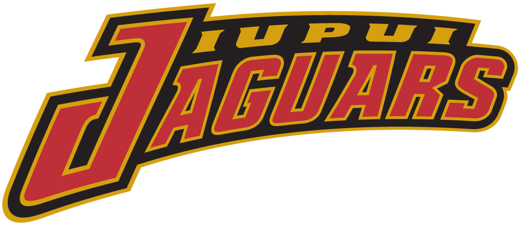 IUPUI Jaguars Logo Wordmark Logo (1998-Pres) - Team name in red and gold SportsLogos.Net