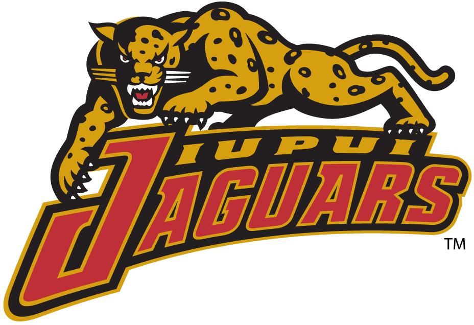 IUPUI Jaguars Logo Alternate Logo (1998-2007) - Jaguar crawling on script.   SportsLogos.Net