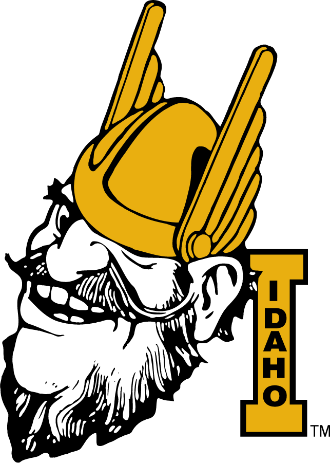 Idaho Vandals Logo Primary Logo (1967-1978) - Joe Vandal with Block I. Seen as early as 1946. Commonly shown grinning during this period. SportsLogos.Net