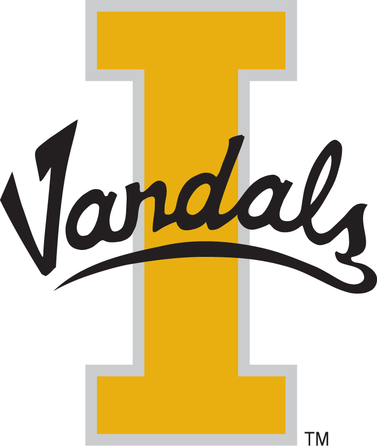 Idaho Vandals Logo Primary Logo (1998-2008) - Script Vandals on Block I. Can be seen at the center of the football field through the 1990s. SportsLogos.Net
