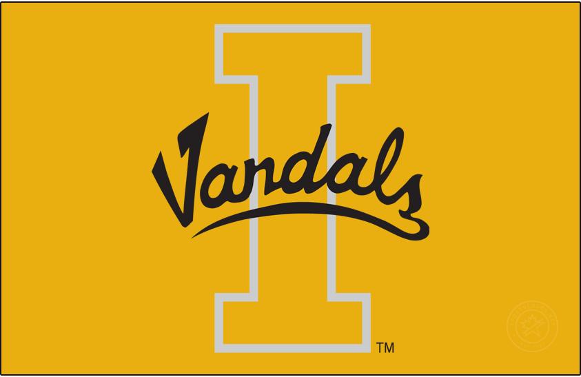 Idaho Vandals Logo Primary Dark Logo (1998-2008) - Script Vandals on Block I SportsLogos.Net