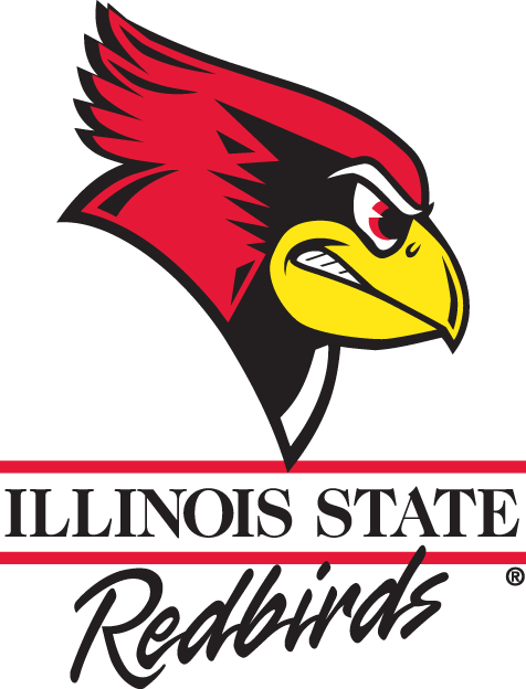 Illinois State Redbirds Logo Primary Logo (1996-2004) - The head of an angry cardinal in red, black, and yellow above the team script SportsLogos.Net