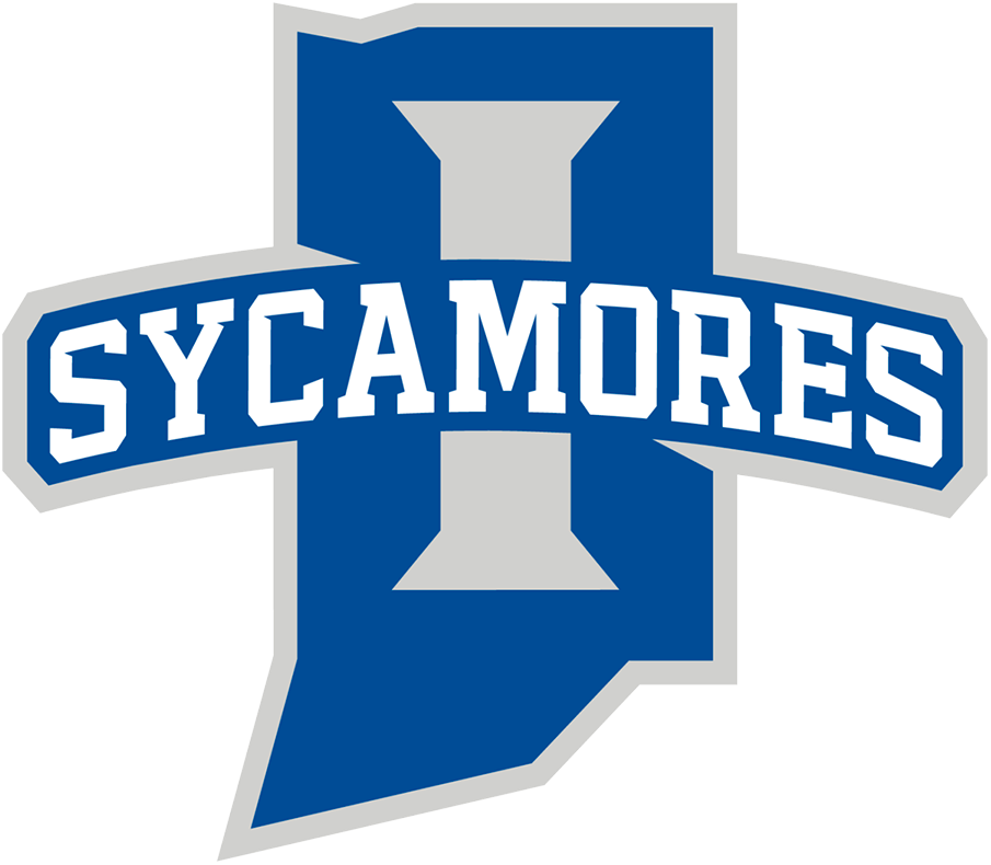 Indiana State Sycamores Logo Primary Logo (2020-Pres) - Map of the state of Indiana in blue with a silver I and SYCAMORES arched across SportsLogos.Net
