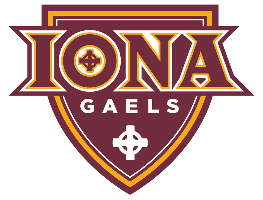 Iona  Gaels Logo Primary Logo (2016-Pres) - IONA in burgundy and gold written across a similarly coloured shield, the team name GAELS below in white SportsLogos.Net