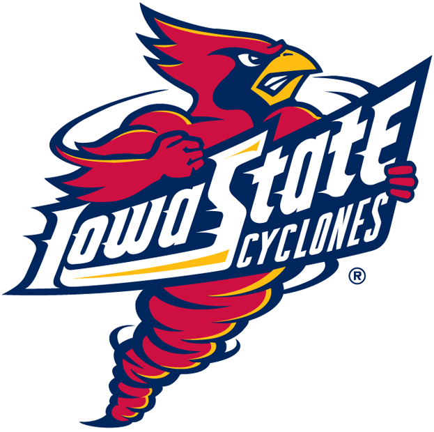 Iowa State Cyclones Logo Primary Logo (1995-2006) - Spinning cardinal holding banner with team script SportsLogos.Net
