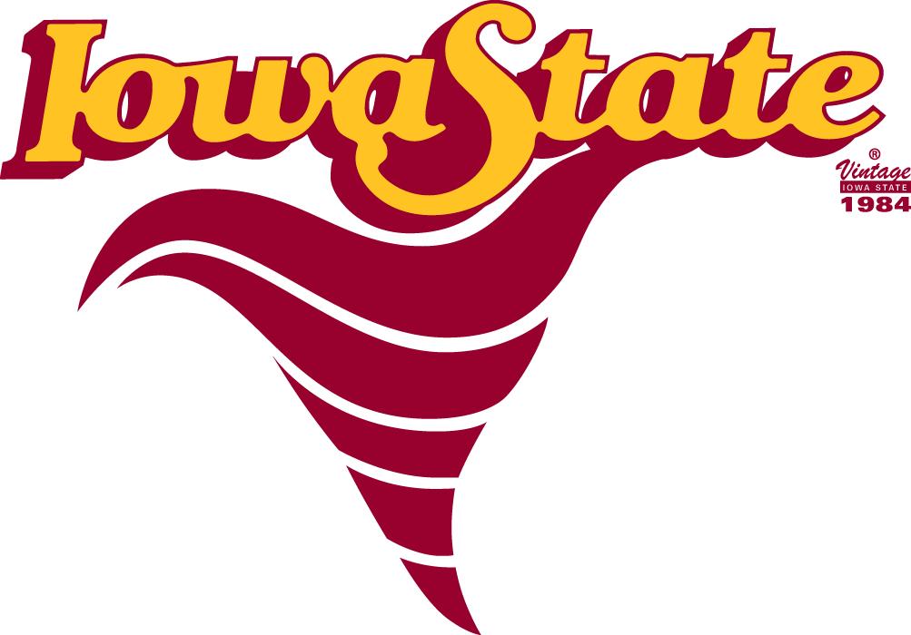 Iowa State Cyclones Logo Primary Logo (1984-1994) - A red cyclone under script SportsLogos.Net