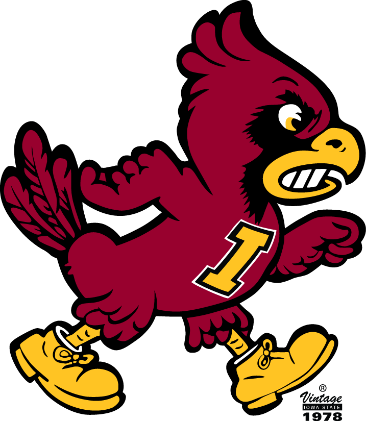 Iowa State Cyclones Logo Primary Logo (1978-1983) - Cardinal walking with a yellow I SportsLogos.Net