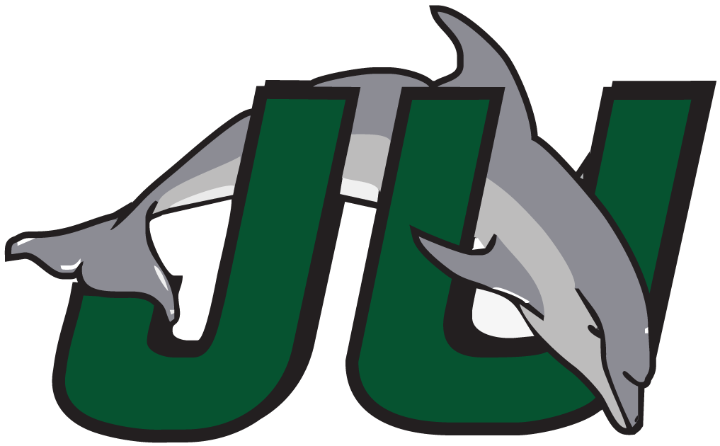 Jacksonville Dolphins Logo Primary Logo (1996-2018) - Dolphin jumping through teal and black JU SportsLogos.Net