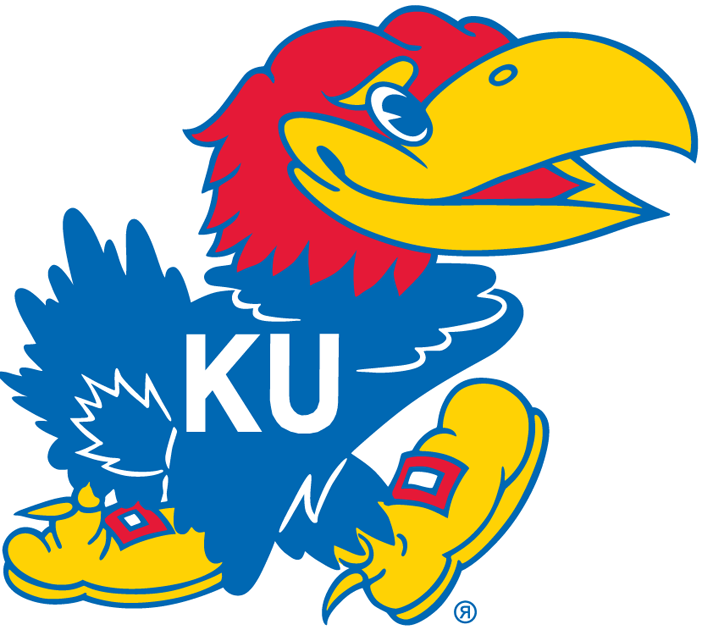 Kansas Jayhawks Logo Primary Logo (1946-2005) - Tippsy looking blue bird with KU in white on his chest SportsLogos.Net